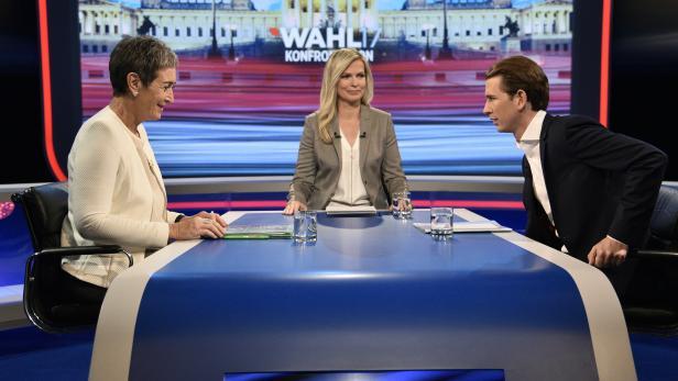Grünen- Spitzenkandidatin Ulrike Lunacek, Moderatorin Claudia Reiterer (ORF) und ÖVP-Spitzenkandidat Sebastian Kurz