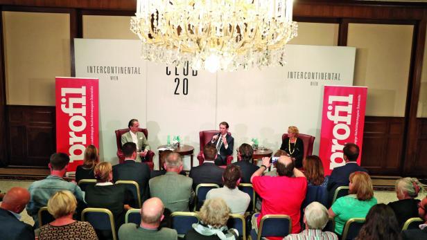 Sebastian Kurz beim profil-Talk mit Christian Rainer und Eva Linsinger
