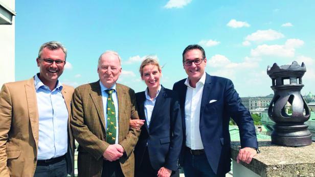 Norbert Hofer, Alexander Gauland, Alice Weidel und Heinz-Christian Strache bei einem Treffen vor dem Wahlherbst in Wien.