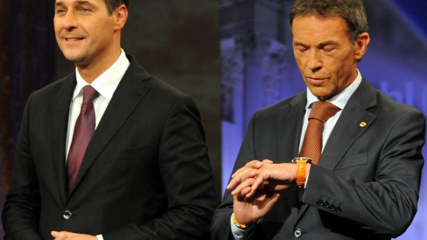FP-Chef Heinz Christian Strache (l) und der verstorbene Kärntner Landeshauptmann Jörg Haider (BZÖ) im Rahmen einer TV-Konfrontation der Spitzenkandidaten anlässl. der Nationalratswahlen 2008