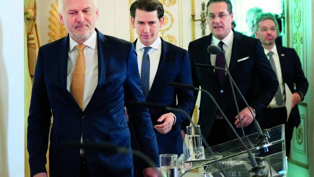 REGIERUNGSRIEGE: Justizminister Josef Moser, Kanzler Sebastian Kurz, Vizekanzler Heinz-Christian Strache, Innenminister Herbert Kickl