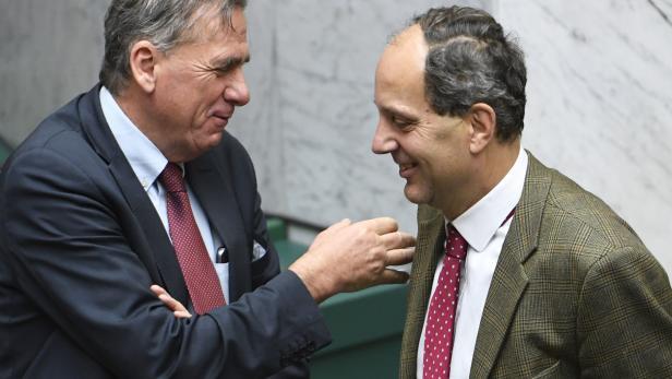 ÖVP-Abgeorneter Erwin Rasinger (l.) und FPÖ-Abgeordneter Johannes Hübner