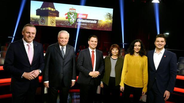 Mario Kunasek (FPÖ), Hermann Schützenhöfer (ÖVP), Michael Schickhofer (SPÖ), Claudia Klimt-Weithaler (KPÖ), Sandra Krautwaschl (Grüne) und Niko Swatek (NEOS)