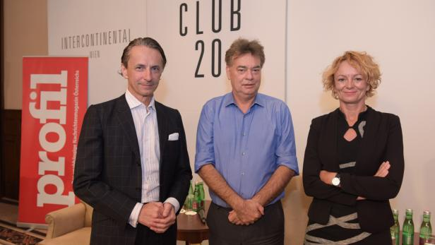 Werner Kogler (Mitte) mit Eva Linsinger und Christian Rainer
