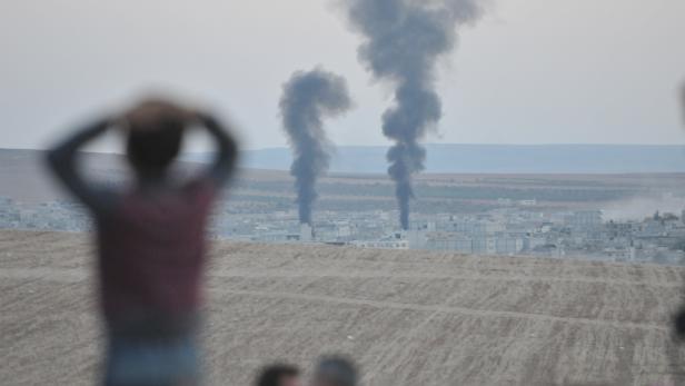 Explosionen in Kobane, Syrien, 2014.