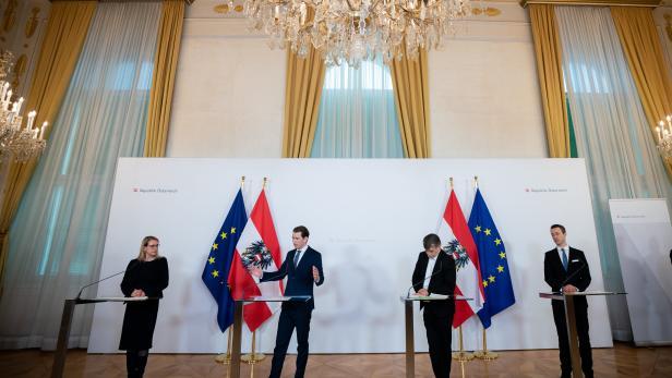 Wirtschaftsministerin Margarete Schramböck, Bundeskanzler Sebastian Kurz, Vizekanzler Werner Kogler und Finanzminister Gernot Blümel