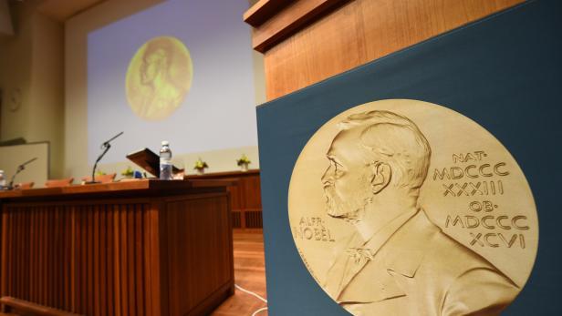 Der Presseraum, in dem die diesjährigen Nobelpreis-Gewinner bekanntgegeben werden