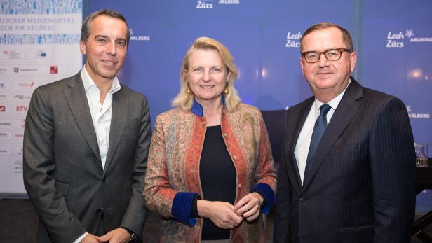 Christian Kern (ehemaliger österreichischer Bundeskanzler), Karin Kneissl (Nahost Expertin und ehemalige österreichische Außenministerin) und Hans-Peter Siebenhaar (Präsident der Auslandspresse in Wien) eröffneten den 13. Europäischen Mediengipfel Lech am