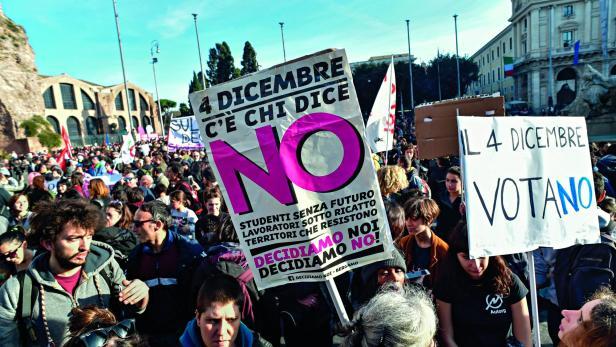Die Nein-Sager bei einer Kundgebung in Rom