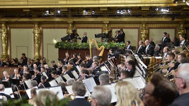 """Wiener Philharmoniker im Rahmen der Voraufführung des """"Neujahrskonzerts 2017"""" im Wiener Musikverein."""
