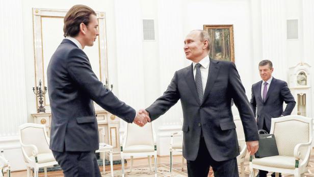 Bundeskanzler Sebastian Kurz mit Wladimir Putin in Moskau (Februar 2018)
