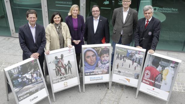 """Foto des Pressetermins zum Thema """"Österreichische Hilfsorganisationen schlagen Alarm"""" aus dem Vorjahr."""