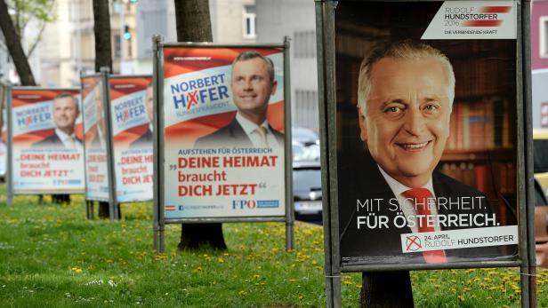 Wahlplakate der Kandidaten Norbert Hofer und Rudolf Hundstorfer.