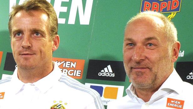 Beurlaubt: SK Rapid Wien-Trainer Mike Büskens (links) und Sportdirektor Andreas Müller.