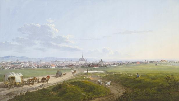 """Jakob Alts """"Blick auf Wien"""" fällt auf die Triester Straße. Wie sehen wir Stadt und Landschaft heute?"""