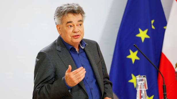 Austrian Vice Chancellor Werner Kogler attends a news conference, in Vienna