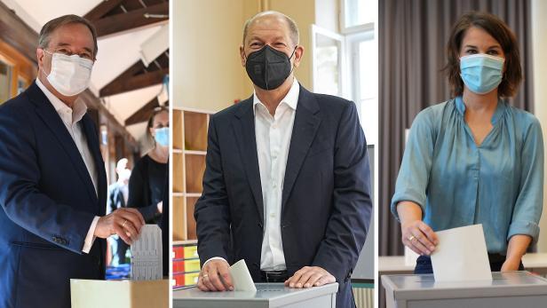 Bundestagswahl - Stimmabgabe Laschet, Scholz, Baerbock