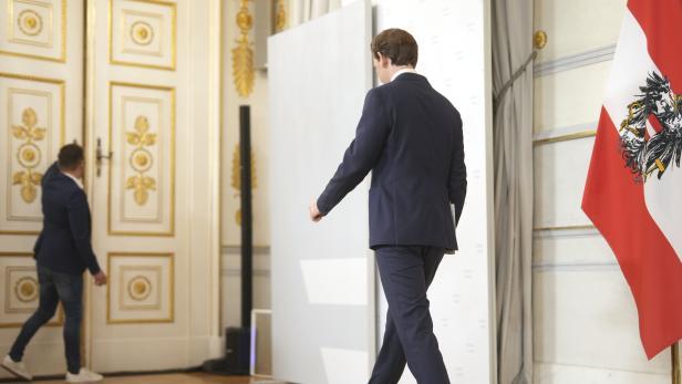 Bundeskanzler Sebastian Kurz (ÖVP) am Samstag, 09. Oktober 2021, anl. eines Statements im Bundeskanzleramt in Wien.